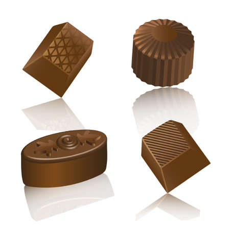 Realistic chocolate candy isolated on white