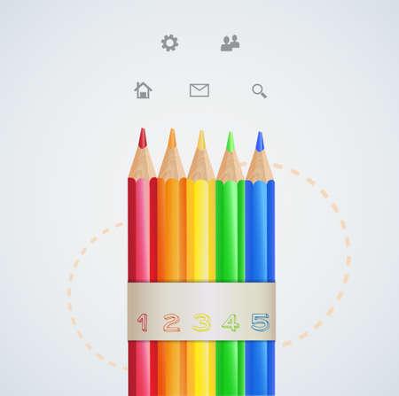 Infographic design color pencils