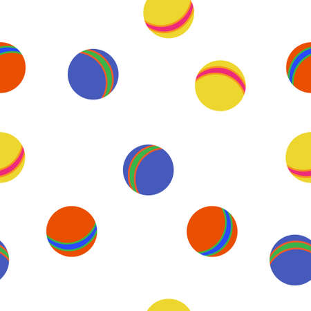 Kids balls colorful pattern on white background