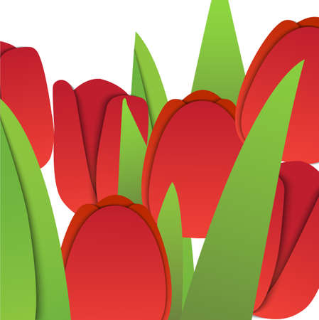 Vector paper red tulips with green leafs