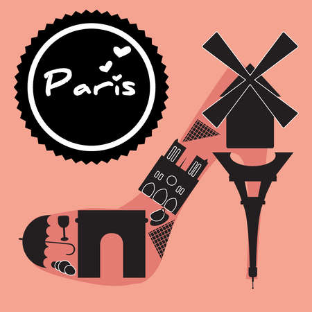 Paris symbol located in the shoes-shaped. Vector illustration.