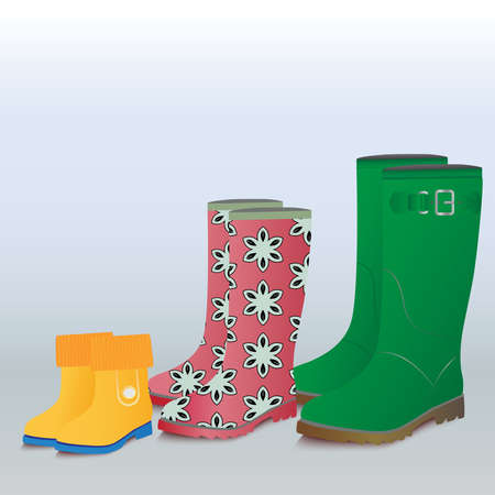 Three couple of gumboots-mother, father and baby.  Vector illustration. Vector