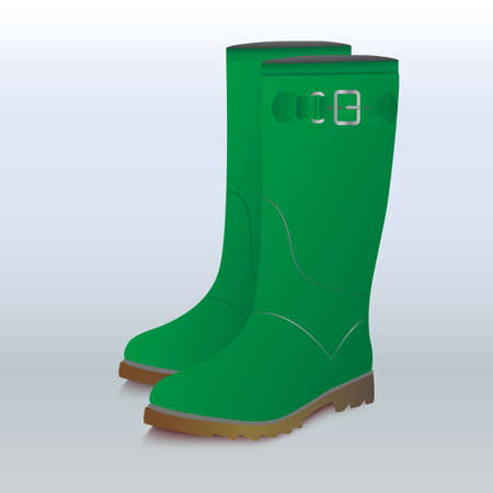 gumboots: Green man gumboots for gardening, hunting and waking in the rain. Illustration