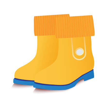 gumboots: Yellow baby gumboots. Vector illustration.