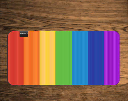 floor mat: rainbow yoga mat on wood texture floor