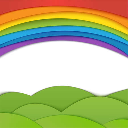 Rainbow vector background with green field. Paper realistic illustration.