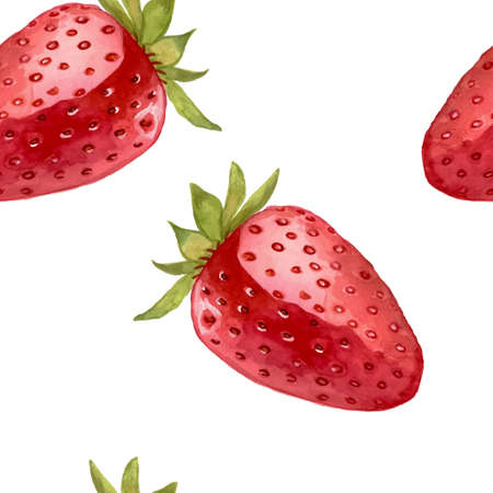 Watercolor strawberry pattern. Vector illustration. Illustration