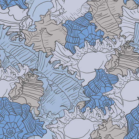 Seamless marine pattern with sea shells. Colorful vector illustration.