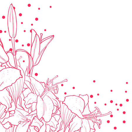 Romantic floral background for wedding, funeral, birthday, invitation. Vector hand drawn lily.