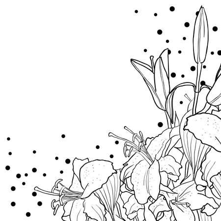 Fondo floral romántico para la boda, funeral, cumpleaños, invitación. Vector dibujado a mano lirio.