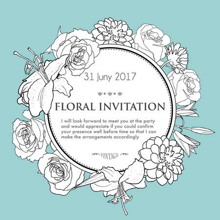 Foral background for wedding, birthday, invitation. Vector hand drawn illustration with lily, rose, dahlia Illustration