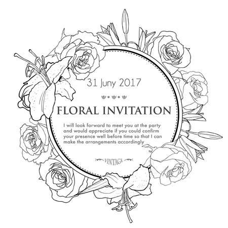 Vintage invitation card with black and white