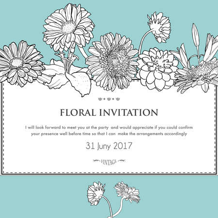 Floral horizontal invitation card. Vector illustration of blooming gerbera, dahlia and lily. For design wedding, invitation, card, template, print etc.