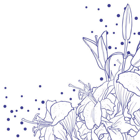 funeral: Romantic floral background for wedding, funeral, birthday, invitation. Vector hand drawn lily.