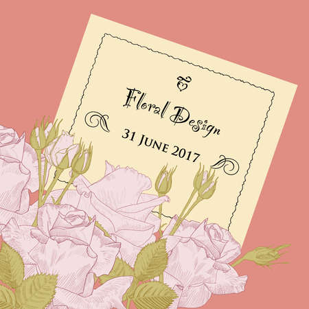 Romantic floral background for wedding, birthday, invitation. Vector hand drawn invitation with pink roses on red background.