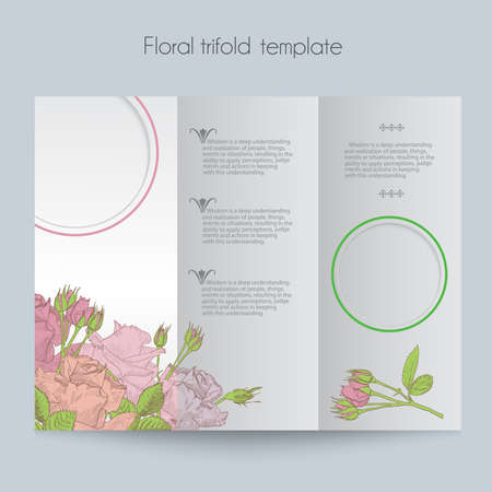 Floral roses template, tri-fold, mockup for brochure, menu, wedding, birthday card, valentins day. Vector hand drawn illustration in vintage technique.
