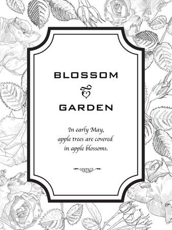 Greeting Card in Hand Drawn fiori - rose. Bianco e Nero botanica Vintage illustrazione vettoriale. Blooming montatura può utilizzare come elemento di design, carta, modello, Invito, matrimoni, compleanni, ecc Vettoriali