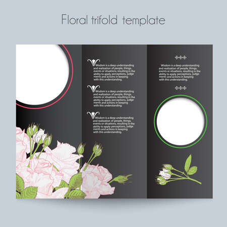 Floral Roses Template Tri Fold Mockup For Brochure Menu Wedding