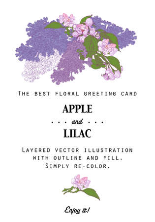 Vintage Floral Greeting Card with Apple Tree and Lilac. Blooming Twigs in Garden on White Background. Stock Vector illustration. Hand drawn botanical style.