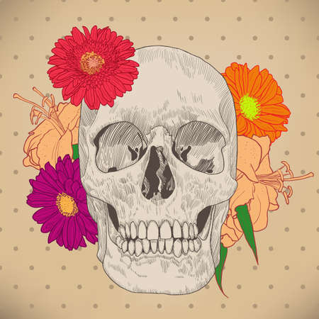 fallecimiento: Tarjeta de felicitaci�n de la vendimia con el cr�neo y flores sobre fondo beige. D�a de la Muerte. Colorida ilustraci�n vectorial.