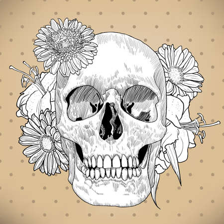 Vintage Greeting Card with Skull and Flowers on Beige Background. Day of the Death. Vector illustration. Illustration