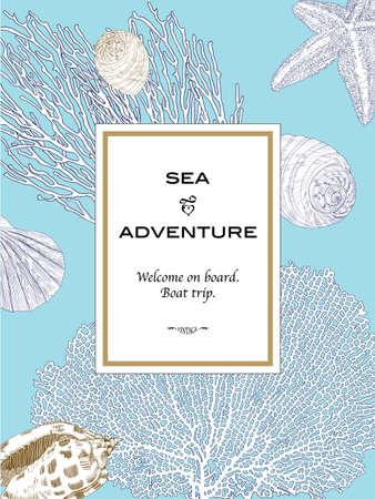 Karta pionowe w stylu marynistycznym z muszli, rozgwiazdy i koralowców na niebieskim tle. Ilustracji wektorowych do projektowania ślubu, zaproszenia, karty, podróży, szablon, drukowanie itp stylu vintage, wyciągnąć rękę techniki.