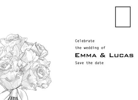 Wedding invitation as postcard with hand drawn bouquet of roses. Copy text place. Vector illustration.