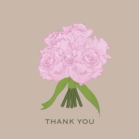 Greeting card Thank You with pink hand drawn roses and green ribbons.