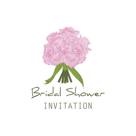 Invitation wedding card Bridal shower. Bouquet of pink hand drawn roses with ribbons.