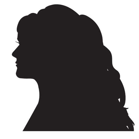 Female silhouette head with a curl long hair. Isolated on white. Ilustracja