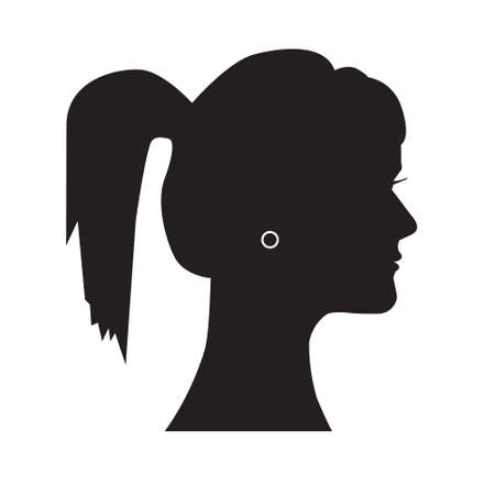 Female silhouette head with hair combed back. Isolated on white.