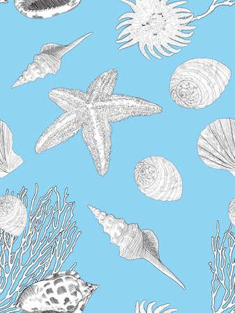 Hand drawn marine pattern. Underwaterworld. Seashells, corals and starfich. Blue vector background for travel card, template, print, textile etc Ilustracja