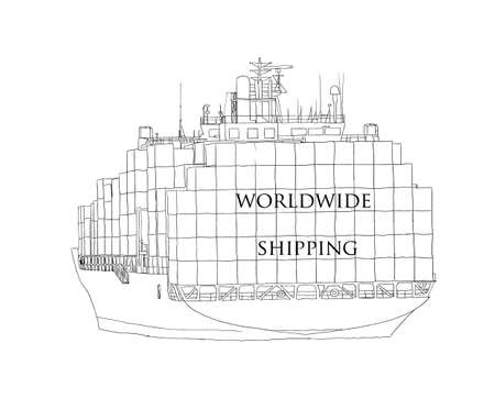 Ship overloaded with container Worldwide Shipping.  Copy place text. Hand drawn vector illustration for buissness, logistic, delivery, international service.