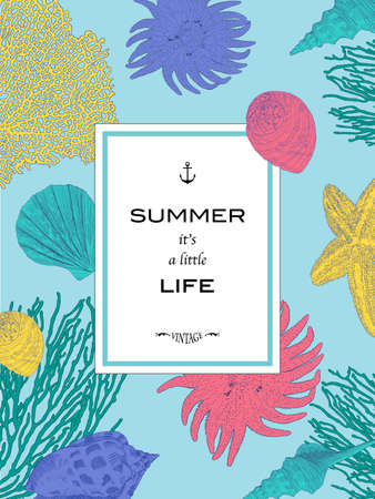 Card Summer it is a little life. Underwater world. Hand drawn seashell, starfish and corals. Vector blue background. Illustration