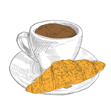 Hand drawn coffee cup and croissant. Vintage color lllustration with fill and outline.