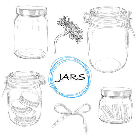 preserve: Vector set hand drawn jars. Vintage illustration with jars, macarons, bow and flower.