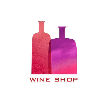 Two watercolor bottles silhouette. Menu wine design background.
