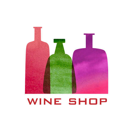 Vector wine icon and logo -  watercolor emblem and design element for menu card, list, shop Illustration