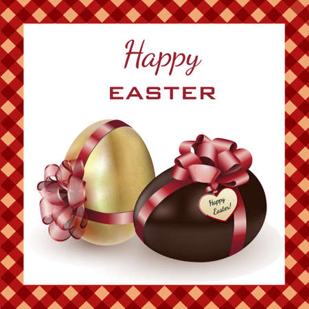 Two easter eggs: gold and chocolade, with red ribbons, isolated on white with realistic shadow. Easter card. Vector illustration. Ilustracja