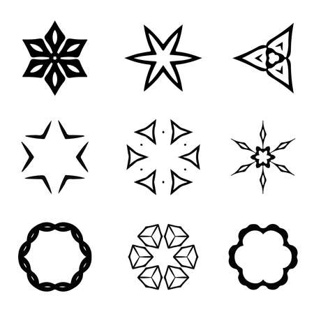 Vector set of hand drawn elements for design. Can use for create pattern, card, frower, frame, snowflake etc.