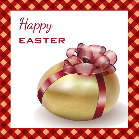 Easter gold egg with red ribbons, isolated on white with realistic shadow. Easter card. Vector illustration.