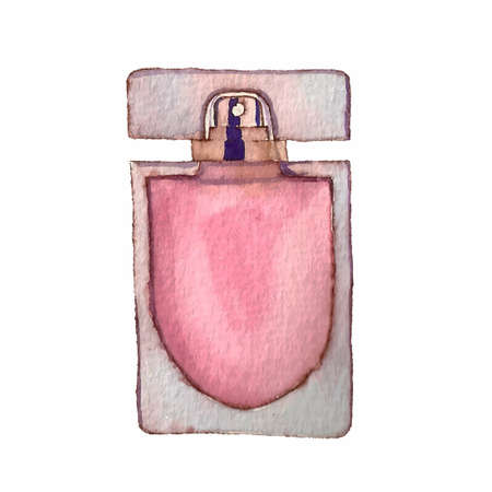 Watercolor perfume bottle. Hand draw vector illustration. Can be used for templates, spa, card etc.