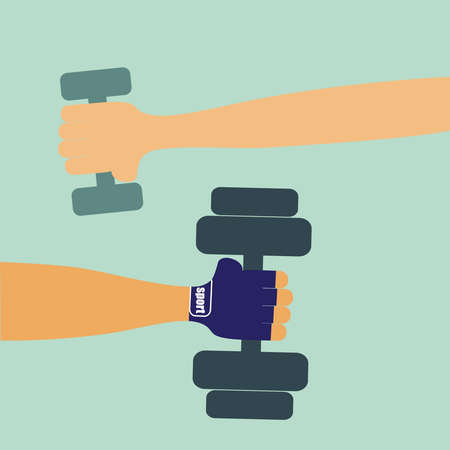 Men and woman hands hold dumbbells. Vector colorful illustration in flat design. Ilustracja