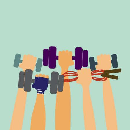 Hands hold dumbbells and sports equipment. Vector colorful illustration in flat design.