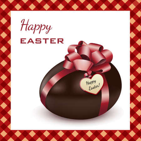 Easter chocolate egg with red ribbons, isolated on white with realistic shadow. Easter card. Vector illustration.