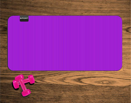 Yoga mat on wood texture floor with pink dumbbells Illustration