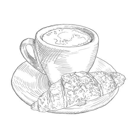 Hand drawn coffee cup and croissant. Vinage llustration with fill and outline. Ilustracja
