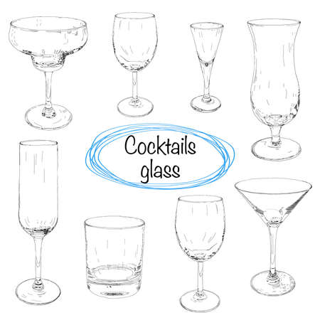 Set of hand drawn cocktail glass. Sketch vector illustration. Collection of different glass glasses for different drinks. Illustration