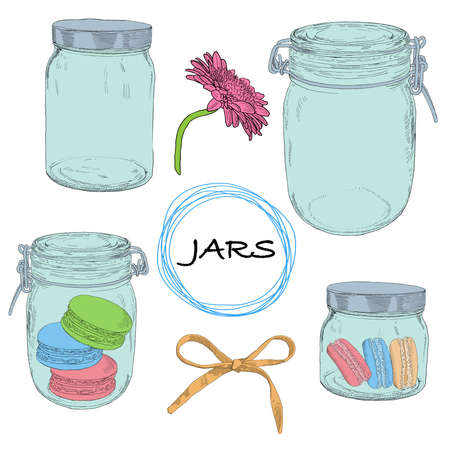 Vector set hand drawn jars. Vintage colorful illustration with jars, cookies, bow and flower.