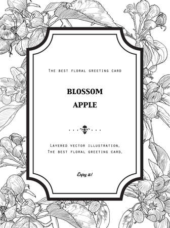 Vintage Floral Greeting Card with Blooming Apple Tree. Black and White vector illustration. Hand drawn botanical style. Ilustracja